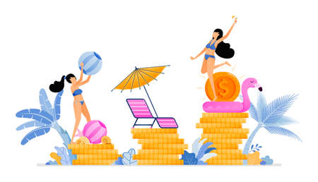 People on vacation and improve local economy and business in tourism industry sector. Vacation for productivity. Illustration can be used for landing page, banner, website, web, poster, brochure
