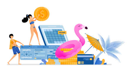 people save and prepare funds for a vacation to a tropical beach in Bali. Credit card scheduled flight ticket payment. illustration can be used for landing page, banner, website, web, poster, brochure
