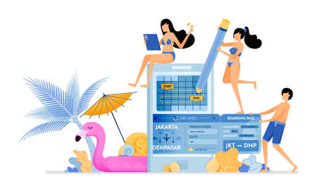 Choose flight ticket return schedule during summer vacation on tropical island. Purchase tickets with mobile apps. Illustration can be used for landing page, banner, website, web, poster, brochure
