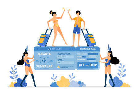 Woman wearing a bunny suit and holding a tropical island vacation ticket gift. Couple wins vacation ticket lottery. Illustration can be used for landing page, banner, website, web, poster, brochure