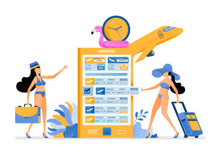 Girls get ready for holidays by buying summer vacation flight tickets to tropical island beach with mobile apps. Illustration can be used for landing page, banner, website, web, poster, brochure