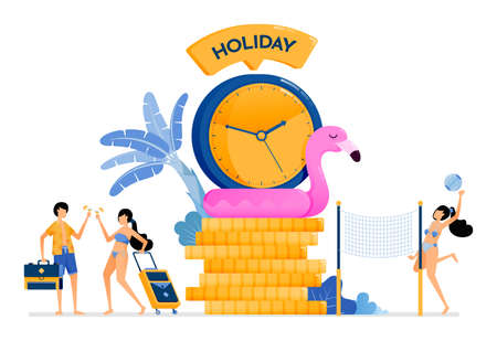 Perfect vacation time during summer to tropical island beaches. Vacation together for honeymoon and relieve stress. Illustration can be used for landing page, banner, website, web, poster, brochure