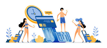 People choose time and date to buy summer vacation tickets with mobile apps. Payment of holiday bills by credit card. Illustration can be used for landing page, banner, website, web, poster, brochure