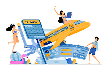 People buy flight tickets to bali with holiday agency mobile apps. purchase of holiday tickets to tropical island. illustration can be used for landing page, banner, website, web, poster, brochure