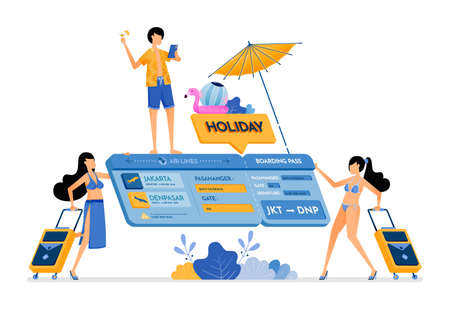 People choose flight tickets for a vacation to tropical island. Isometric 3d ticket. Creative holiday design concept. Illustration can be used for landing page, banner, website, web, poster, brochure