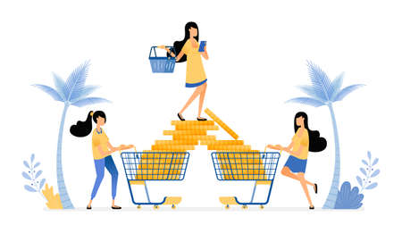 People like to shop and spend much more for leisure things. Wasteful in consumerism. Vector design illustration can be used for poster, banner, ads, website, web, marketing, flyer Illustration