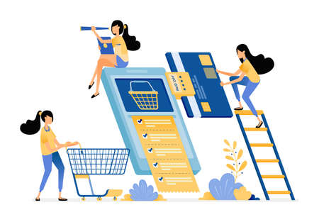 People monthly bill payments, shopping and buy daily necessities wholesale on e-commerce mobile apps.  Vector design illustration can be used for poster, banner, ads, website, web, marketing, flyer