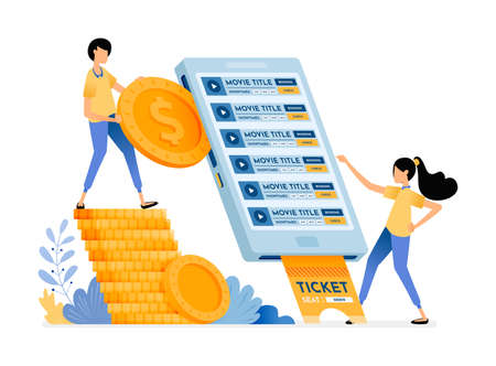 People buy cinema tickets easily using the mobile purchase application. Vector design illustration can be used for poster, banner, ads, website, web, mobile, marketing, flyer