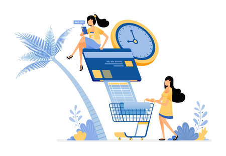 People pay their credit card bills and monthly grocery bills on time.  Vector design illustration can be used for poster, banner, ads, website, web, marketing, flyer