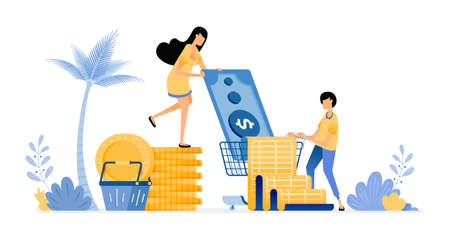 People set budgets to save expenses. Pay for groceries and monthly bills. Vector design illustration can be used for poster, banner, ads, website, web, marketing, flyer Illustration
