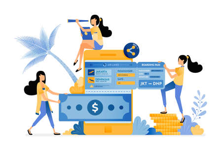People transfer money to mobile banks and buy plane tickets for holidays. Vector design illustration can be used for poster, banner, ads, website, web, mobile, marketing, flyer Illustration