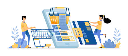Pay shopping bills by credit card. People grocery shopping at online supermarkets with mobile apps. Vector design illustration can be used for poster, banner, ads, website, web, marketing, flyer