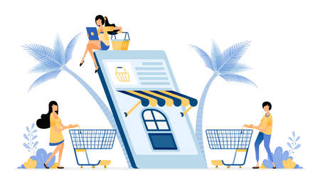 People shop for daily necessities using e-commerce mobile apps.  Vector design illustration can be used for poster, banner, ads, website, web, marketing, flyer