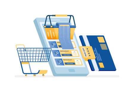 icon design of Pay shopping bills by credit card. People grocery shopping at online supermarkets with mobile apps. this icon can be used for marketing, ads, promotion, company, corporate