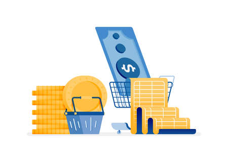 icon design of budgets to save expenses. Pay for groceries and monthly bills. this icon can be used for marketing, ads, promotion, company, corporate