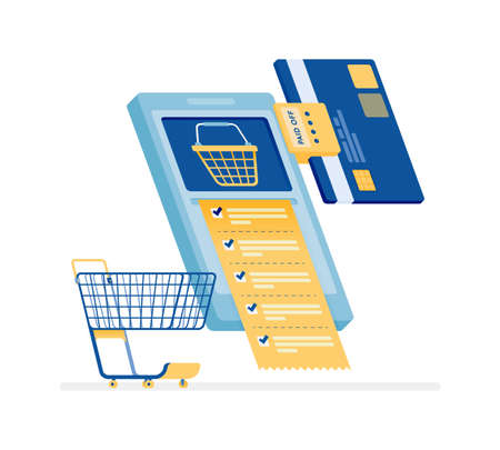 icon design of monthly bill payments, shopping and buy daily necessities wholesale on e-commerce mobile apps. this icon can be used for marketing, ads, promotion, company, corporate Illustration