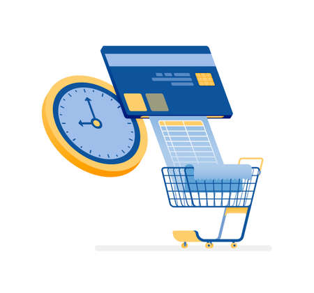 icon design of pay credit card bills and monthly grocery bills on time. this icon can be used for marketing, ads, promotion, company, corporate