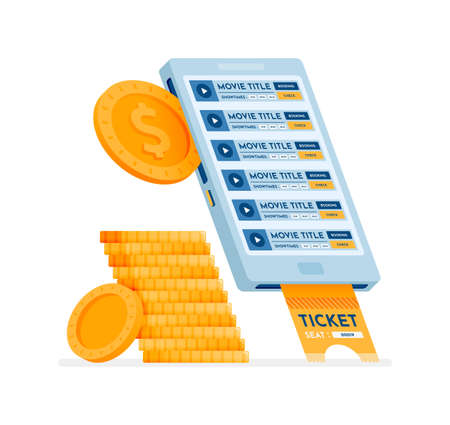 icon design of buy cinema tickets easily using the mobile purchase application. this icon can be used for marketing, ads, promotion, company, corporate Illustration