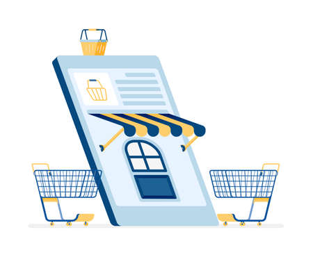 icon design of shop for daily necessities using e-commerce mobile apps. this icon can be used for marketing, ads, promotion, company, corporate