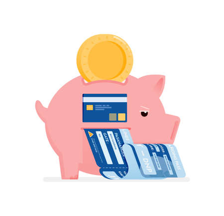 icon design of save in piggy banks to shop for groceries, leisure and pay bills. this icon can be used for marketing, ads, promotion, company, corporate Illustration