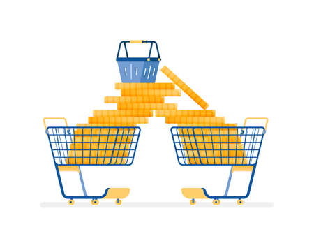 icon design of shop and spend much more for leisure things. Wasteful in consumerism. this icon can be used for marketing, ads, promotion, company, corporate Illustration