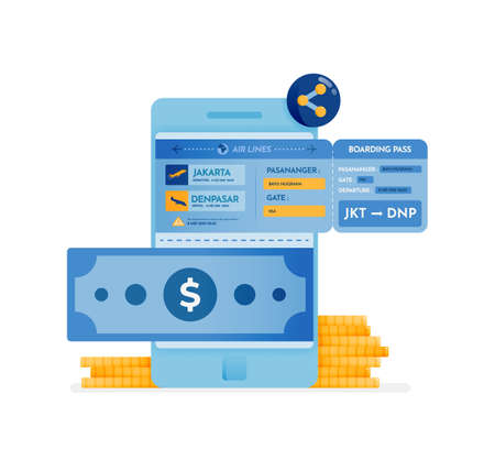 icon design of transfer money to mobile banks and buy plane tickets for holidays. this icon can be used for marketing, ads, promotion, company, corporate