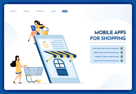 Landing page illustration of mobile apps for shopping. People shop for daily necessities using e-commerce mobile apps. Vector design can also be used for website, web, flyer, poster Illustration