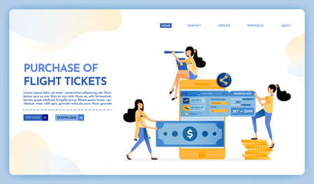 Landing page illustration of purchase of flight ticket. People transfer money to mobile banks and buy plane tickets for holidays. Vector design can also be used for website, web, flyer, posters