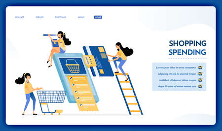 Landing page illustration of shopping spending. People monthly bill payments and buy necessities wholesale on e-commerce mobile apps. Vector design can also be used for website, web, flyer, poster