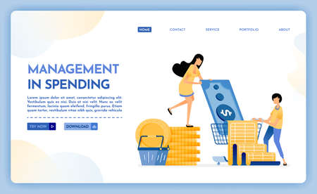 Landing page illustration of management of spending. People set budgets to save expenses. Pay for groceries and monthly bills. Vector design can also be used for website, web, flyer, posters