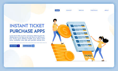 Landing page illustration of instant ticket purchase apps. People buy cinema tickets easily using the mobile purchase application. Vector design can also be used for website, web, flyer, posters