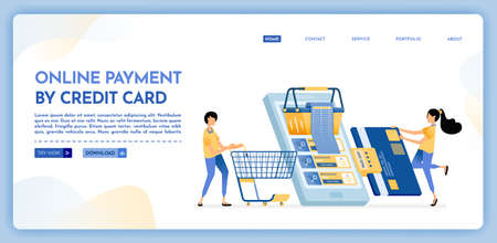 Landing page illustration of online payment by credit card pay shopping bills by credit card. Grocery shopping with mobile apps. Vector design can also be used for website, web, flyer, posters Illustration