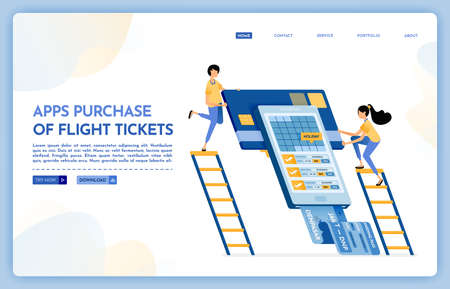 Landing page illustration of apps purchase of flight ticket. people buy plane tickets for holidays with travel agencies mobile app. Vector design can also be used for website, web, flyer, posters Illustration