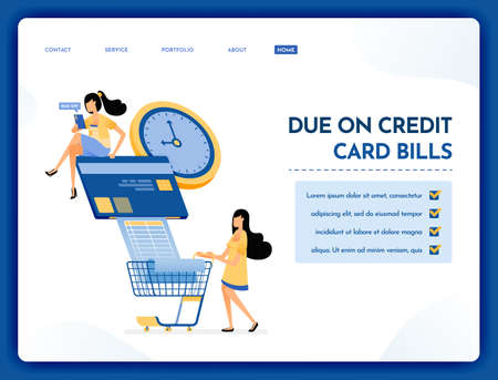 Landing page illustration of due on credit card bills people pay their credit card bills and monthly grocery bills on time. Vector design can also be used for website, web, flyer, poster