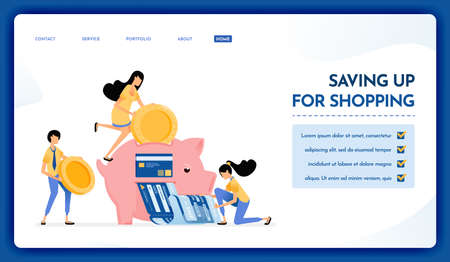 Landing page illustration of saving up for shopping. Piggy banks to shop for groceries, leisure and pay bills. Vector design can also be used for website, web, flyer, poster
