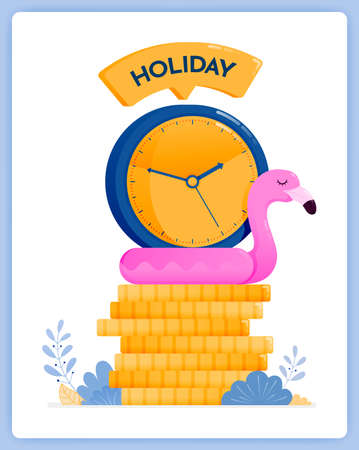 vector illustration of saving up for holidays at end year. plan your vacation now. Vector illustration set isolated on white background and can used for landing pages, websites, posters, mobile apps
