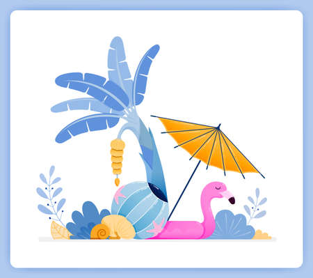 vector illustration of travel to tropical island with beach vibes and banana trees. Vector illustration set isolated on white background and can used for landing pages, websites, posters, mobile apps