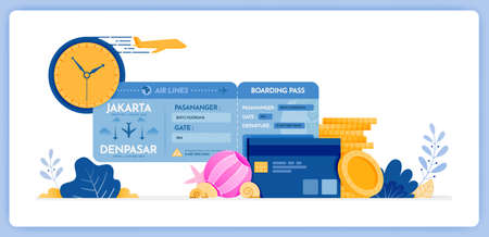 vector illustration of schedule for purchasing flight tickets for holidays by credit card. Vector illustration set isolated on white background and can used for landing page, website, poster, apps