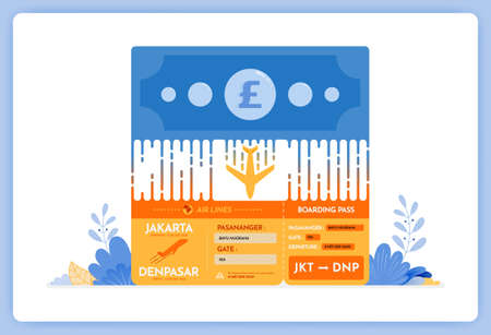 vector illustration of purchase of flight tickets. local transactions in foreign currencies. Vector illustration set isolated on white background and can be for landing page, website, poster, apps