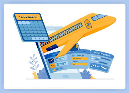 vector illustration of auto Purchasing airline tickets is easier with mobile apps. Vector illustration set isolated on white background and can used for landing pages, websites, posters, mobile apps Illustration