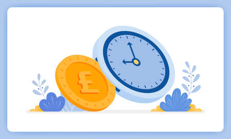 vector illustration of Time is money and can exchanged for money. financial management. Vector illustration set isolated on white background and can used for landing page, website, poster, mobile app