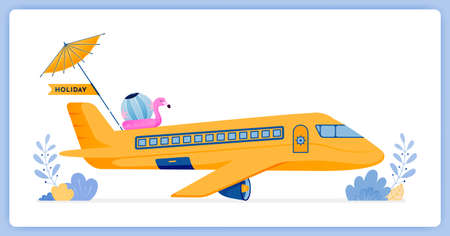 vector illustration of Commercial passenger plane flying to tropical island for vacation. Vector illustration set isolated on white background and can be for landing page, website, poster, mobile apps