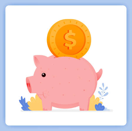vector illustration of cute piggy bank with dollar bill input. how to save for kids. Vector illustration set isolated on white background and can used for landing pages, websites, posters, mobile apps