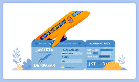 vector illustration of Purchase vacation flight tickets from Jakarta to Denpasar. Vector illustration set isolated on white background and can used for landing pages, websites, posters, mobile apps