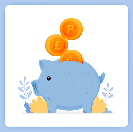 vector illustration of cute blue piggy bank with stacked coins. save for investment. Vector illustration set isolated on white background and can used for landing pages, websites, posters, mobile apps Illustration