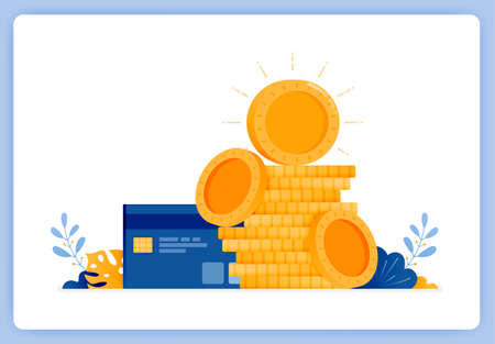 vector illustration of pile of currency coins with credit card on side. jokes of debt. Vector illustration set isolated on white background and can be for landing pages, websites, posters, mobile apps