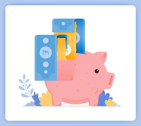 vector illustration of pink piggy bank with bank note being issued. open investment savings. Vector illustration set isolated on white background and can used for landing pages, posters, mobile apps Illustration