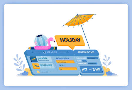 vector illustration of holiday plane tickets to Bali island with departure in Jakarta. Vector illustration set isolated on white background and can used for landing page, website, poster, mobile apps