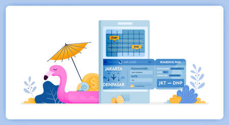 vector illustration of schedule for purchasing round trip flight tickets for vacation. Vector illustration set isolated on white background and can used for landing page, website, poster, mobile apps Illustration