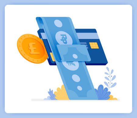 vector illustration of instant monthly credit card bill payments. financial loans. Vector illustration set isolated on white background and can used for landing pages, websites, posters, mobile apps Illustration